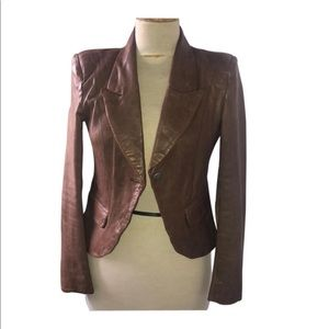 100% Genuine leather Tan leather jacket